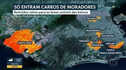 Prefeitura do Rio restringe circulação de carros em alguns bairros da cidade