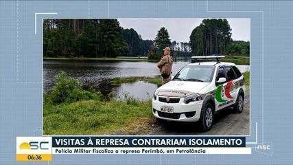 PM fiscaliza ponto turístico da Serra de SC para evitar aglomeração