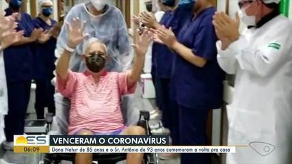 Idosos curados da Covid-19 comemoram a volta para casa no ES