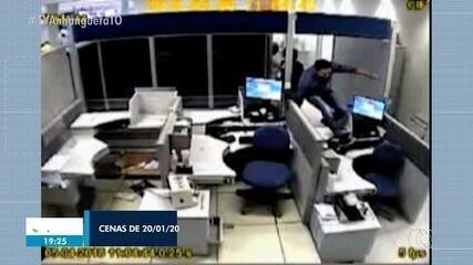 Vídeos mostram como quadrilha suspeita de furtar bancos atuava