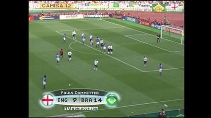 Em 2002, Ronaldinho Gaúcho cobra falta, encobre David Seaman e marca golaço contra a Inglaterra