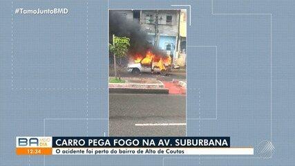 Susto: Carro pega fogo na Avenida Suburbana, em Salvador; ninguém ficou ferido