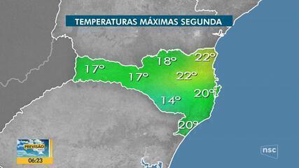 Confira a previsão do tempo nesta segunda-feira para Santa Catarina