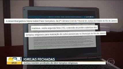 Justiça mantém decisão de deixar igrejas fechadas no Rio