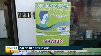 Projeto 'Geladeira Solidária' doa produtos de higiene