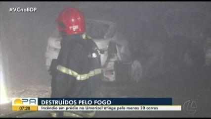 Carros ficam destruídos após incêndio atingir garagem de um prédio em Belém