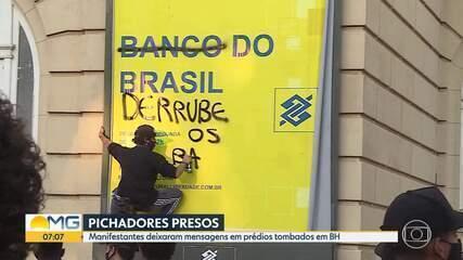 Dois presos pichando prédios históricos em Belo Horizonte