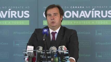 Rodrigo Maia sobre corte de salários dos parlamentares: 'Não vejo problema em discutir'