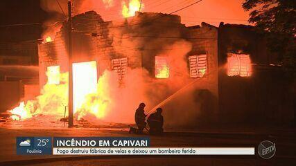Bombeiros iniciam demolição para controlar fogo em fábrica de velas de Capivari