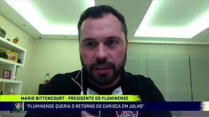Presidente do Fluminense, Mário Bittencourt fala sobre o retorno do futebol