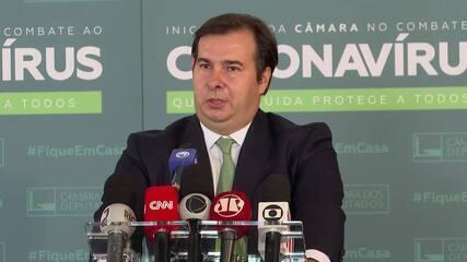 Rodrigo Maia fala sobre a Medida Provisória 984, que altera regras de transmissão