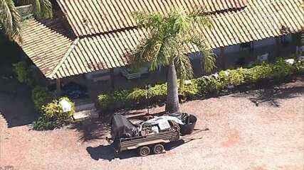 Chácara usada por grupos extremistas de apoio ao presidente Bolsonaro onde polícia cumpriu mandado de busca e apreensão, neste domingo (21)