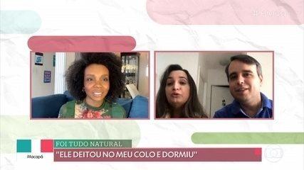 Thelma de Assis conversa com casal que adotou criança durante a quarentena