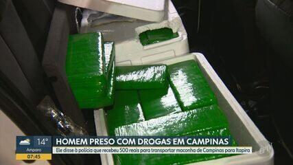 Homem é preso com 70 tijolos de maconha escondidos em caixas de isopor em Campinas