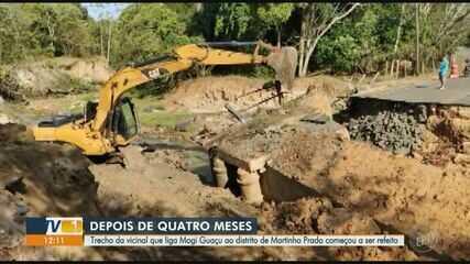 Ponte que desabou em Mogi Guaçu em fevereiro começa a ser reconstruída nesta terça-feira
