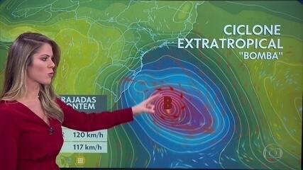 Ciclone pode provocar rajadas de vento no Centro-Sul do país nesta quarta-feira