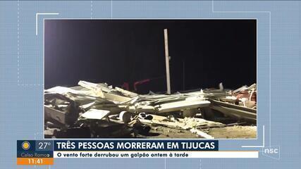 Força do vento derruba galpão e deixa mortos em Tijucas