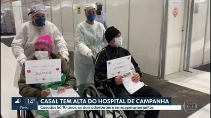 Casal tem alta do hospital de campanha do Anhembi
