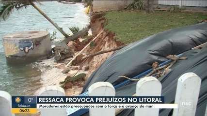 Ressaca causa prejuízos no Litoral catarinense