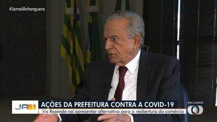 Jornalismo da TV Anhanguera entrevista com exclusividade prefeito Iris Rezende