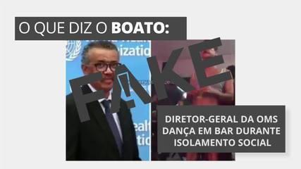 É #FAKE que vídeo mostre diretor-geral da OMS dançando em bar durante o isolamento social