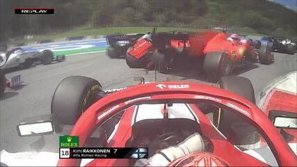 Vettel tem problema na asa traseira após toque de Leclerc