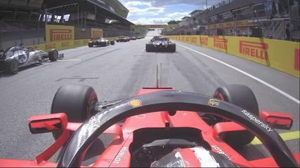 Câmera onboard de Charles Leclerc em incidente com Sebastian Vettel no GP da Estíria