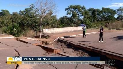 Moradores de Palmas cobram solução da prefeitura em relação a ponte interditada da NS-3