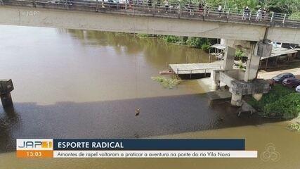 Praticantes do rapel no Amapá voltam a se aventurar na ponte do Rio Vila Nova