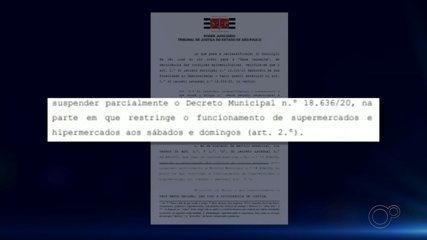 Justiça concede liminar para reabertura dos supermercados aos fins de semana em Rio Preto