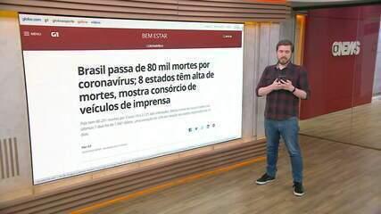 Brasil tem 80.251 mortes por coronavírus e 2.121.645 casos, informa consórcio de imprensa