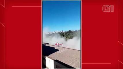 Antes de cair, hélice de helicóptero do Corpo de Bombeiros bateu em prédio no DF