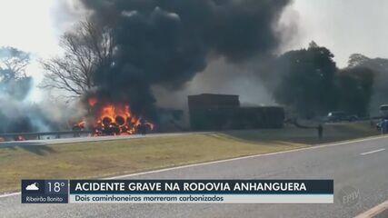 Dois caminhoneiros morrem e motociclista fica ferido em acidente na Anhanguera em Leme