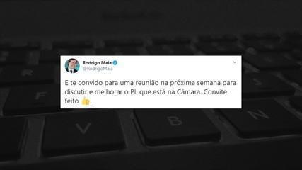 Rodrigo Maia presta apoio e convida Felipe Neto para debater fake news