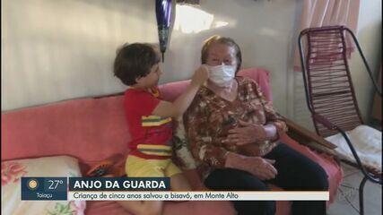 Criança de cinco anos salva bisavó que passou mal em casa, em Monte Alto