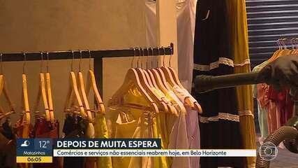 Comércios e serviços não essenciais reabrem hoje, em Belo Horizonte