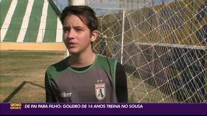 Confira a história do goleiro de apenas 14 anos que treina no Sousa