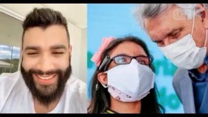 Garota cega que sonha em ser atriz e cantora vibra com vídeo de Gusttavo Lima