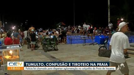 Polícia dispersa aglomerações no calçadão da Praia de Iracema; ação acaba em tiroteio