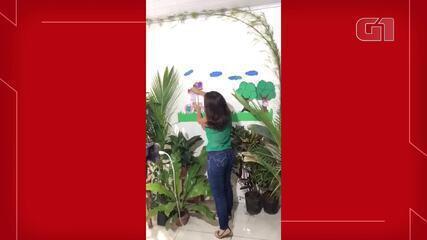 Professora do DF cria 'estúdio' em casa para dar aulas durante pandemia do coronavírus