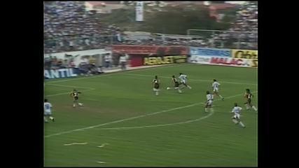Tiba marca o gol do título paulista do Bragantino contra o Novorizontino em 1990