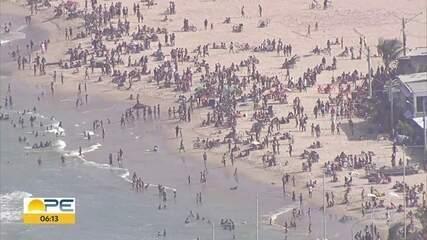 Praias têm aglomeração e desrespeito às regras no Grande Recife