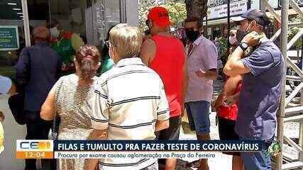 Testagem em massa da covid-19 na Praça do Ferreira causa aglomeração