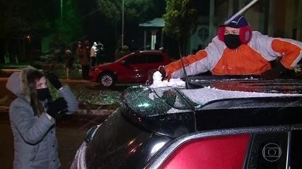 Moradores do Sul celebram chegada da neve
