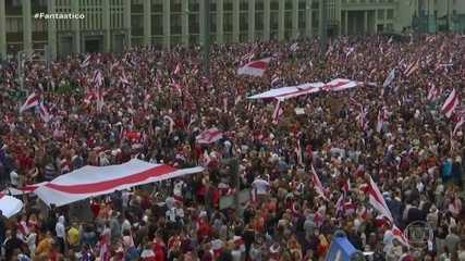 Manifestantes voltam às ruas de Belarus pedindo a saída do presidente e novas eleições