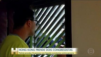 Polícia de Hong Kong prende 2 congressistas da oposição