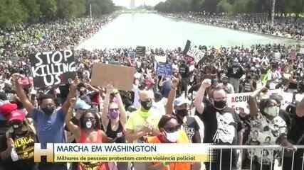 Milhares de pessoas se reúnem para marcha contra a violência policial em Washington