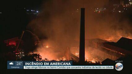 Fogo atinge fábrica de tecelagem, em Americana