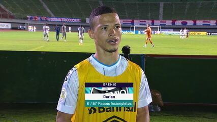"""Darlan comemora a vitória do Grêmio: """"Fico muito feliz por fazer meu primeiro gol"""""""