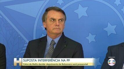 Mello determina depoimento presencial de Bolsonaro sobre suposta interferência na PF